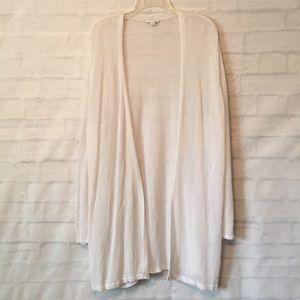 J Jill white linen blend long open cardigan sz XL